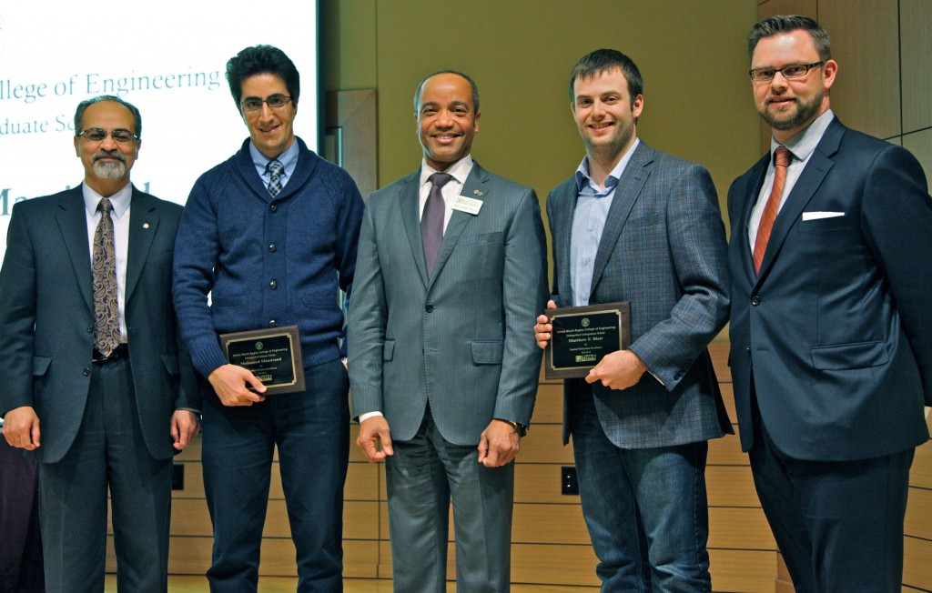 From L-R: Associate dean Masoud Rais-Rohani, mechanical doctoral student Mahmood Mamivand, dean Achille Messac, civil senior Matthew Blair, and interim associate dean James Warnock