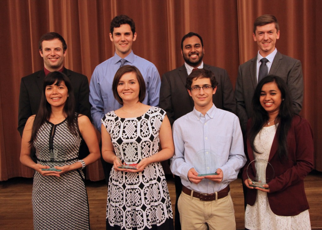 """The Bagley College of Engineering added eight to its Student Hall of Fame at an April ceremony at Old Waverly Country Club. Pictured from L-R: Front row - Edith Martinez-Guerra, Elizabeth """"Liz"""" Rayfield, Alexander Lalejini and Nandita Gupta. Back row - Matthew Blair, Ryan Weitzel, Sunny Patel and Kyle Johnson."""
